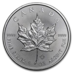 Moneda Maple Leaf canadiense de Plata 1 oz 2019