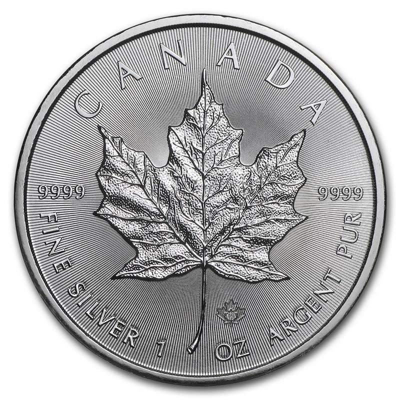 Moneda Maple Leaf canadiense de Plata 1 oz 2019